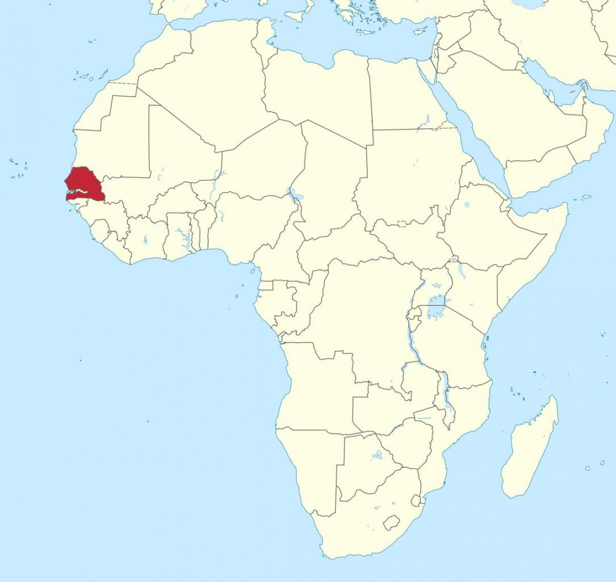 Senegal on map of africa