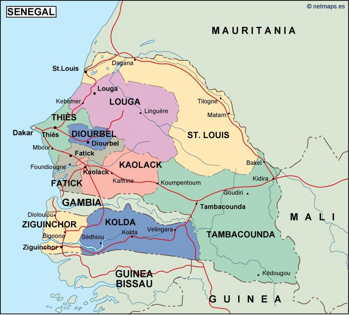 Senegal country map   Map of Senegal country (Western Africa   Africa)